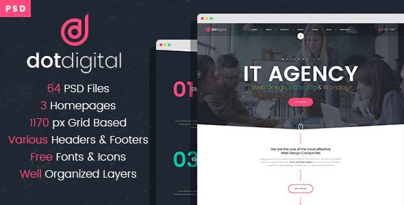 Free Download Dotdigital Web Design Agency Psd Template Nulled Latest Version Downloader Zone