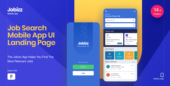 [Free Download] Jobizz Mobile App and Landing Page   An Online Job Search Figma Template (Nulled) [Latest Version]