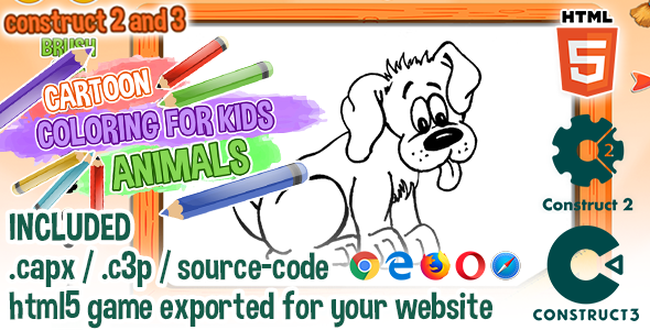 Free Download Cartoon Coloring For Kids Animals Html5 Construct 2 3 Game With Source Code Nulled Latest Version Downloader Zone