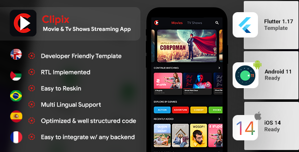 [Free Download] Movie Series Video Streaming Android App Template+ Video Streaming iOS App Template| Flutter| Clipix (Nulled) [Latest Version]