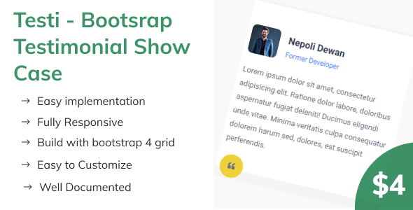 [Free Download] Testi – Bootsrap Testimonial Show Case (Nulled) [Latest Version]