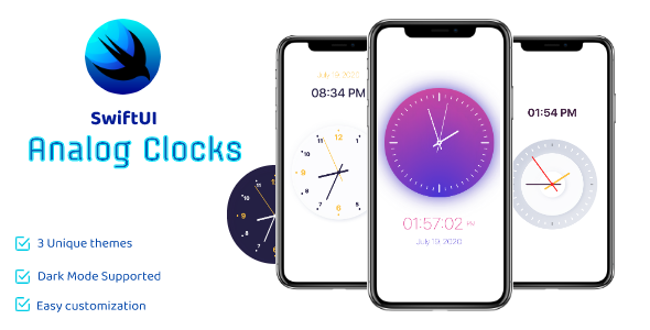 [Free Download] SwiftUI Analog Clocks – 3 Beautiful Themes (Nulled) [Latest Version]