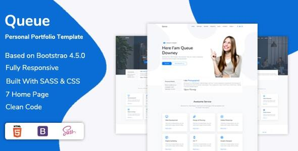 [Free Download] Queue – Personal Portfolio, Resume Template (Nulled) [Latest Version]
