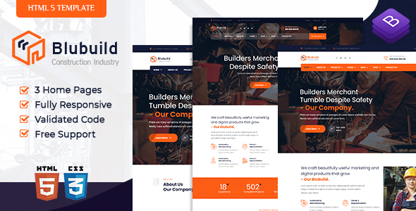 [Free Download] BluBuild – Industrial Construction HTML Template (Nulled) [Latest Version]