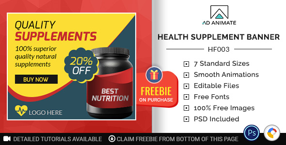 [Free Download] Health & Fitness | Health Supplement Banner (HF003) (Nulled) [Latest Version]