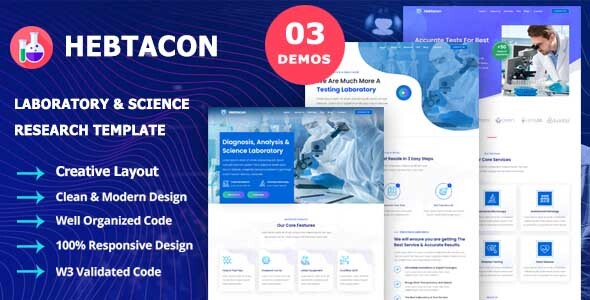 [Free Download] Hebtacon – Science Research & Laboratory Template (Nulled) [Latest Version]