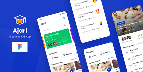 [Free Download] Ajari – E-learning iOS App Design UI Template Figma (Nulled) [Latest Version]