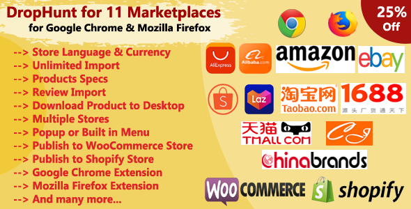 [Free Download] DropHunt for 11 Marketplaces(WooCommerce & Shopify) Google Chrome Extension (Nulled) [Latest Version]