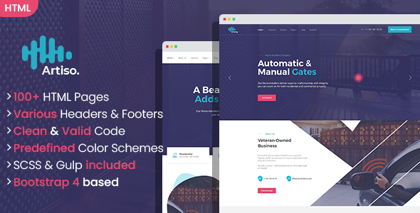 [Free Download] Artiso – Fence and Gates Company HTML Template (Nulled) [Latest Version]