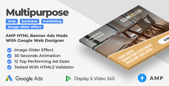 [Free Download] Clean & Clear – Multipurpose Animated AMP HTML Banner Ad Templates (GWD, AMP) (Nulled) [Latest Version]