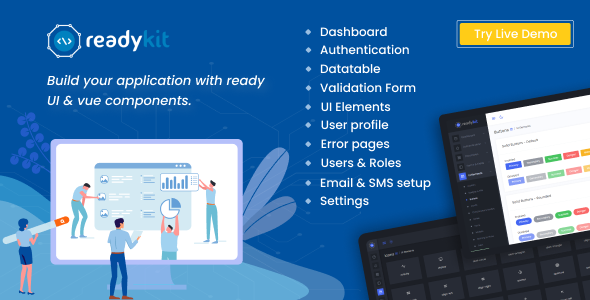 [Free Download] ReadyKit –  Admin & User Dashboard Templates (with functionality) for Laravel + Vue App Development (Nulled) [Latest Version]