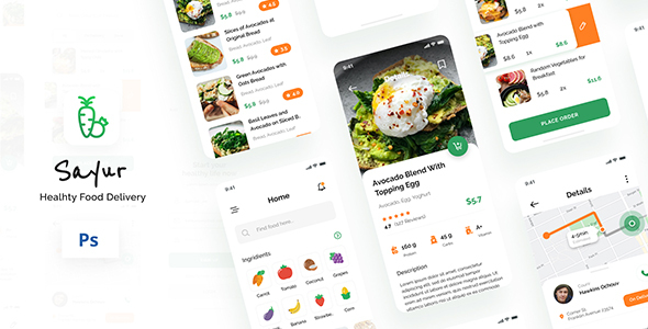[Free Download] Sayur – Healthy Food Delivery iOS UI App Design PSD (Nulled) [Latest Version]