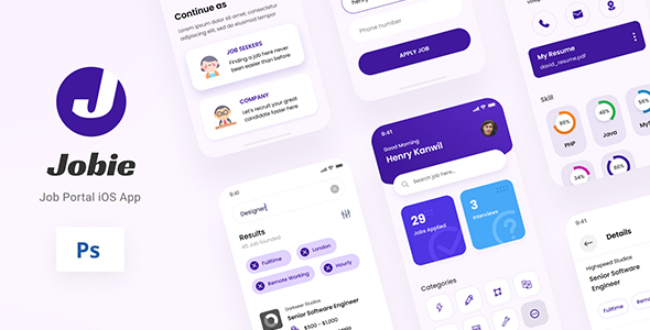 [Free Download] Jobie – Job Portal iOS App Design UI PSD Template (Nulled) [Latest Version]