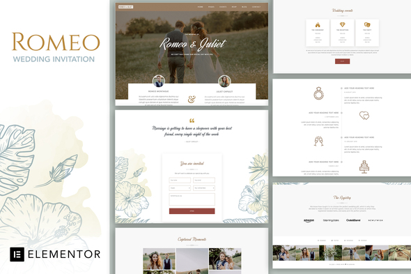 [Free Download] Romeo – Wedding Event Invitation Elementor Template Kit (Nulled) [Latest Version]