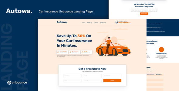 [Free Download] Autowa — Car Insurance Unbounce Landing Page Template (Nulled) [Latest Version]