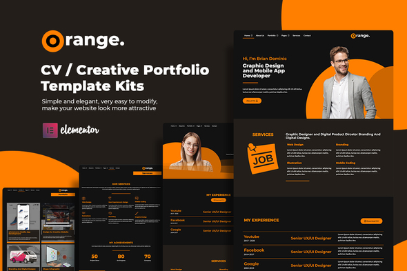 [Free Download] Orange CV/Creative Portfolio Elementor Template Kits (Nulled) [Latest Version]