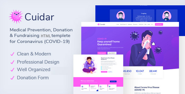[Free Download] Cuidar – Coronavirus Medical Prevention, Donation & Fundraising HTML Template (Nulled) [Latest Version]