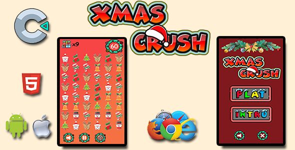 [Free Download] Xmas Crush – HTML5 Mobile Game (Nulled) [Latest Version]