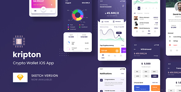 [Free Download] Kripton – Crypto Wallet iOS App Sketch Template (Nulled) [Latest Version]