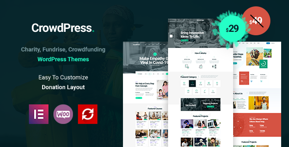 [Free Download] CrowdPress – Crowdfunding Responsive WordPress Theme (Nulled) [Latest Version]