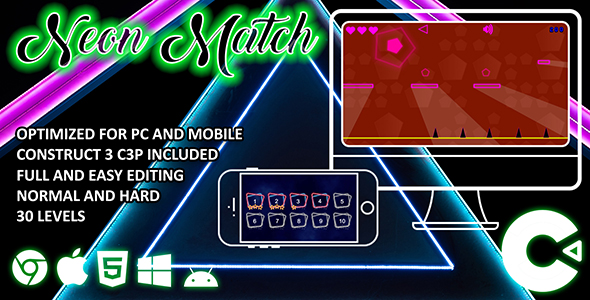 [Free Download] Neon Match Construct 3 HTML 5 Game (Nulled) [Latest Version]