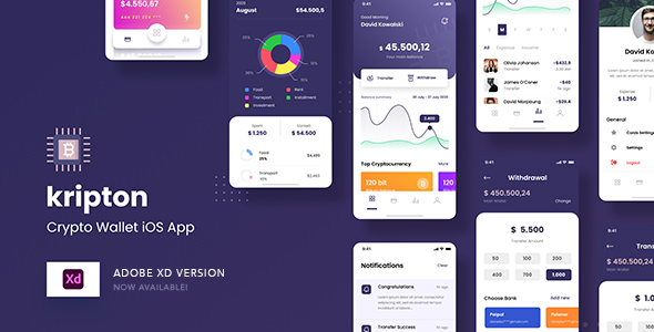 [Free Download] Kripton – Crypto Wallet iOS App Adobe XD Template (Nulled) [Latest Version]