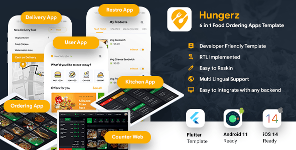 [Free Download] 6 in 1 multi Restaurant Food Ordering App|Food Delivery App|Android+iOS App Template|Flutter Hungerz (Nulled) [Latest Version]