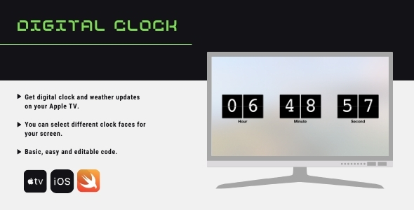 [Free Download] Digital Clock for Apple Tv (Nulled) [Latest Version]