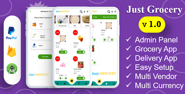 [Free Download] Just Grocery App   Grocery At Home   Payment Gateways Integrated   Delivery & Customer App (Nulled) [Latest Version]