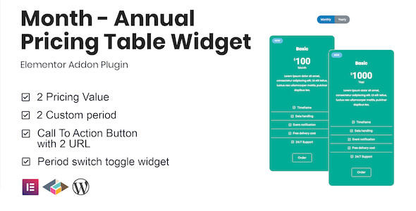 [Free Download] Month – Annual Pricing Table Widget For Elementor (Nulled) [Latest Version]