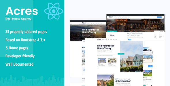 [Free Download] Acres – Real Estate React Template (Nulled) [Latest Version]