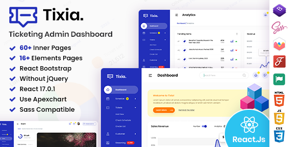 [Free Download] Tixia – Ticketing React Admin Dashboard Template (Nulled) [Latest Version]