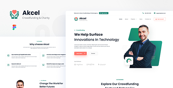[Free Download] Akcel – Modern Crowdfunding and Charity Website Design Template Figma (Nulled) [Latest Version]