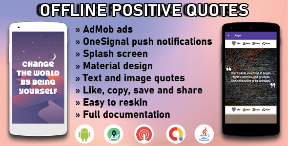 [Free Download] Offline positive quotes – Full Android Application with GDPR and Admob (Nulled) [Latest Version]