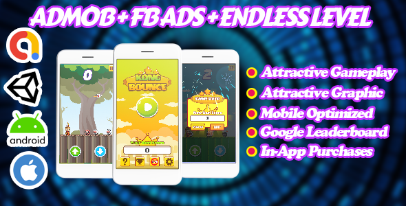 [Free Download] Kong Bounce – Endless Unity Game – Admob + Facebook Ads – Ready To Publish (Nulled) [Latest Version]