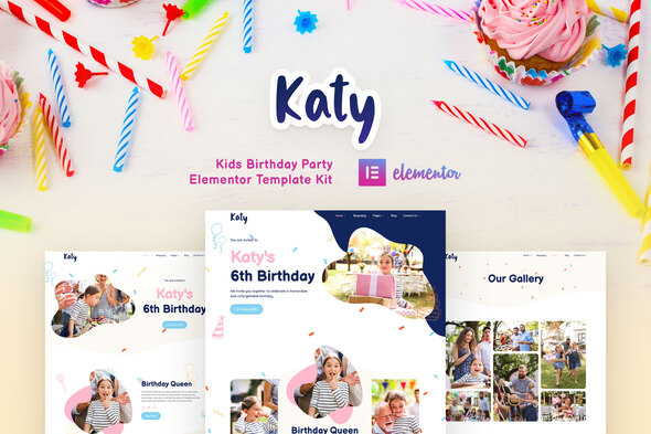 [Free Download] Katy – Kids Birthday Party Planner & Invitation Elementor Template Kit (Nulled) [Latest Version]
