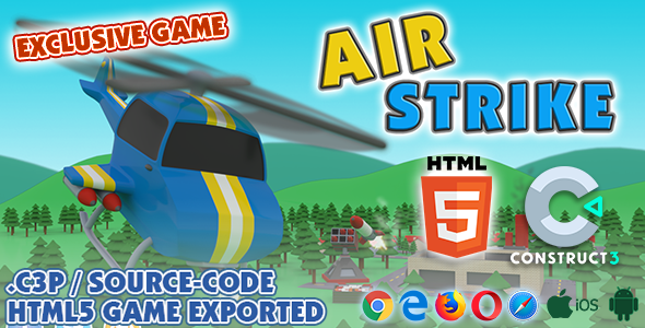 [Free Download] Air Strike HTML5 Game (Helicopter Game) – With Construct 3 All Source-code (.c3p) (Nulled) [Latest Version]