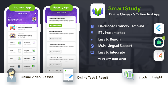 [Free Download] Online Classes & Online Test Android + iOS App Template| 2 Apps Student+Faculty| Flutter| SmartStudy (Nulled) [Latest Version]