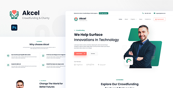 [Free Download] Akcel – Modern Crowdfunding and Charity Website Design Template PSD (Nulled) [Latest Version]