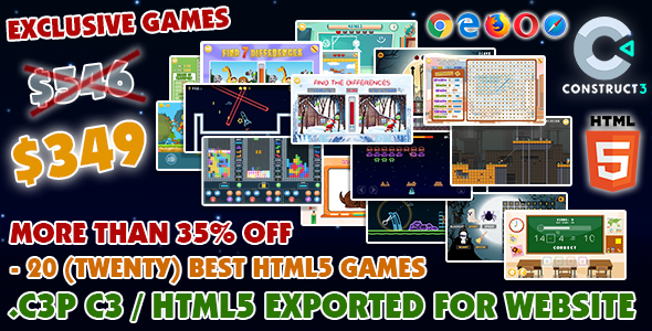 [Free Download] Game Bundle #10 – 20 (Twenty) Best HTML5 Games (Construct 3 all source-code) (Nulled) [Latest Version]