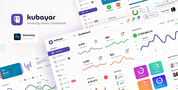 [Free Download] Kubayar – Invoicing Admin Dashboard UI Template PSD (Nulled) [Latest Version]