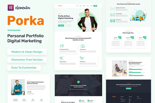 [Free Download] Porka – Digital Marketing Personal Portfolio Elementor Template Kit (Nulled) [Latest Version]