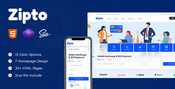 [Free Download] Zipto – Online Recharge and Shopping Template (Nulled) [Latest Version]