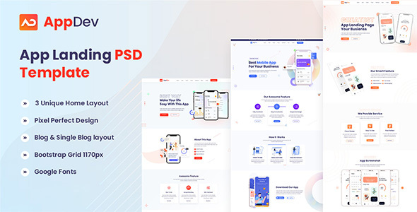 [Free Download] Appdev – App Landing PSD Template (Nulled) [Latest Version]