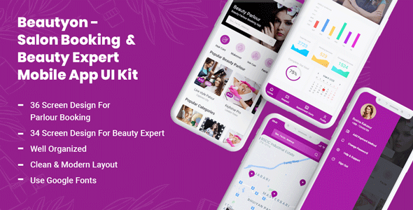 [Free Download] Beautyon – Beauty Parlour Booking & Beauty Expert Mobile App UI Kit (Nulled) [Latest Version]