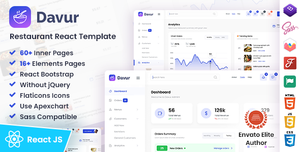 [Free Download] Davur | Restaurant Food React Admin Dashboard Template (Nulled) [Latest Version]
