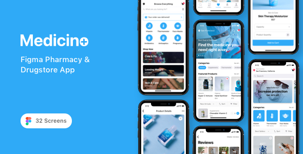 [Free Download] Medicino – Figma Pharmacy & Drugstore App (Nulled) [Latest Version]
