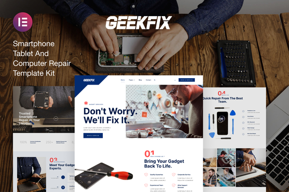 [Free Download] Geekfix — Smartphone, Tablet & Computer Repair Elementor Kit (Nulled) [Latest Version]