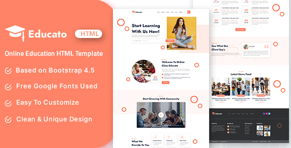 [Free Download] Educato – Online Education HTML Template (Nulled) [Latest Version]