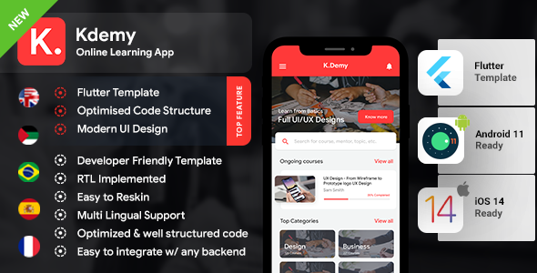 [Free Download] Online Learning App Template   Online exam app   Online class App  Android + iOS   FLUTTER   Kdemy (Nulled) [Latest Version]